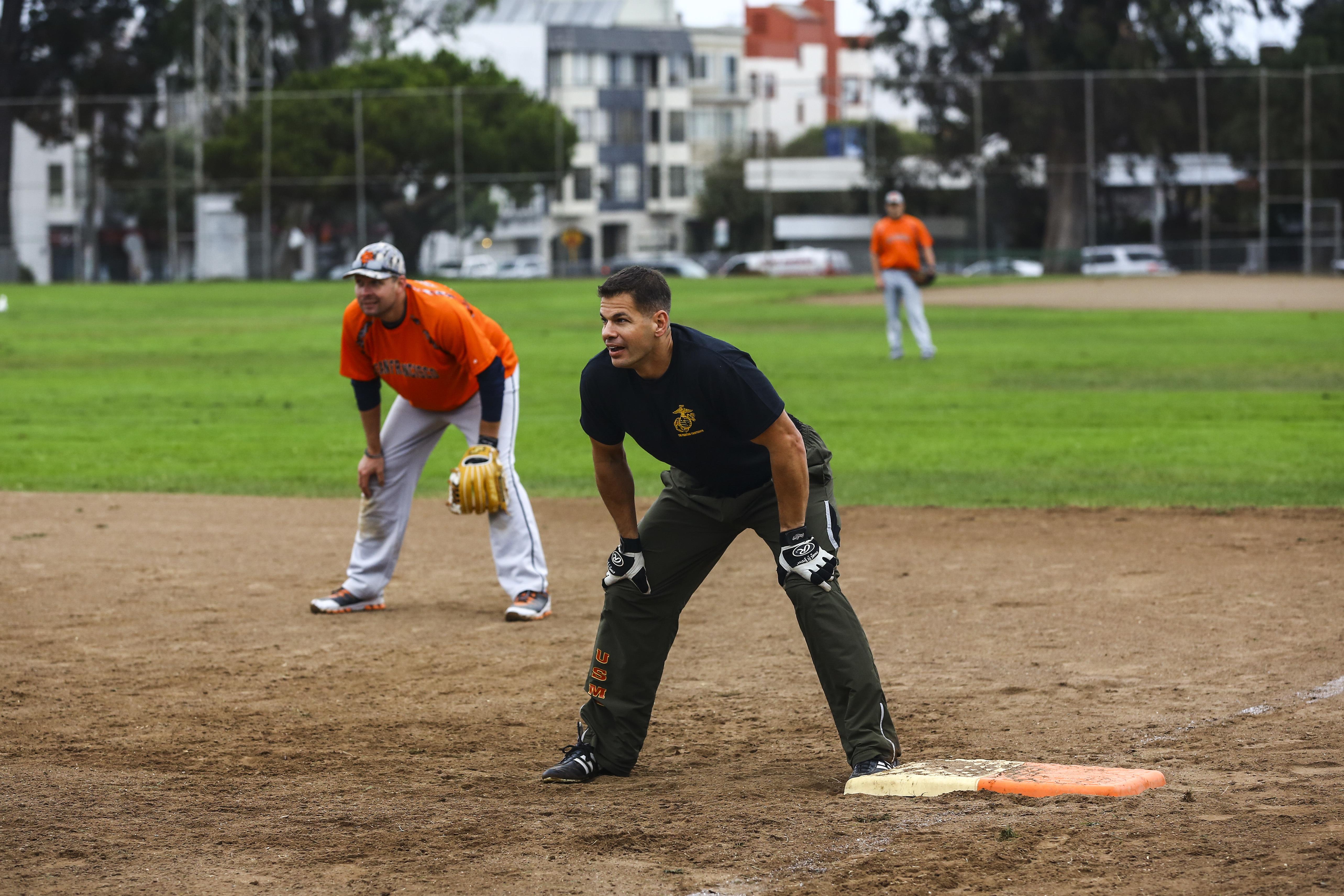Marines play softball